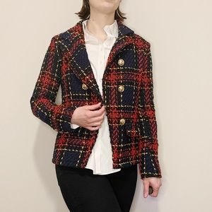 Vintage Plaid Tweed Jacket Double Breasted Button